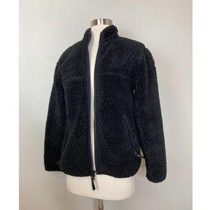 Aritzia TNA Women's Sherpa Teddy Fleece Zip Up Jacket Size XXS in Black